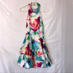 Multicolored ruffle backless floral dress